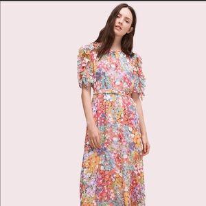 Kate Spade Floral Dot Ruffle Sleeve Midi Dress